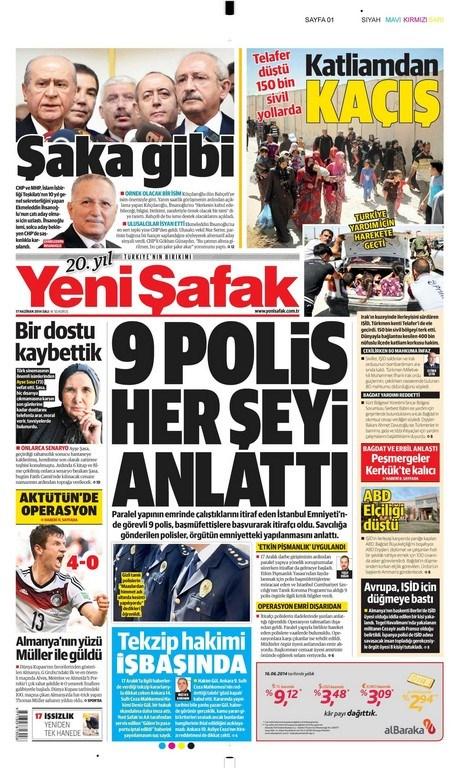 17 Haziran 2014 gazete manşetleri