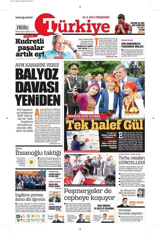 19 Haziran 2014 gazete manşetleri