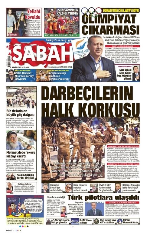 20 Ağustos gazete manşetleri