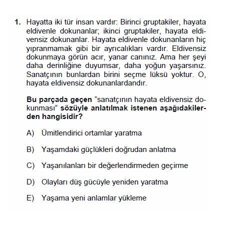 2010 LYS - Türkçe Testi Soru ve Cevapları