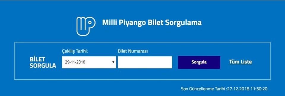Milli Piyango sonuç sayfası