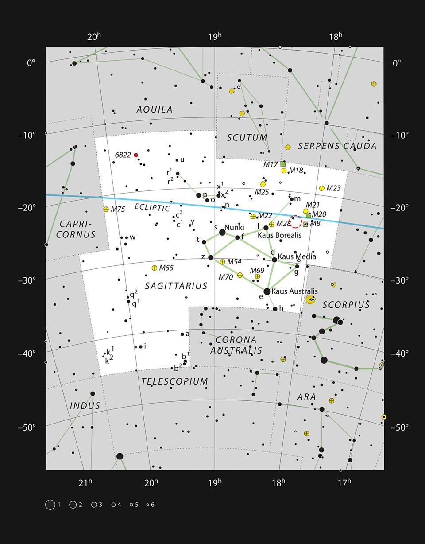Yay takım yıldızında NGC 6559 bölgesi (Büyütmek için tıklayın).