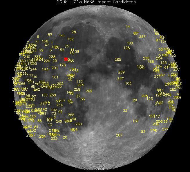 Ay'daki patlamaların noktaları. Kırmızı ile işaretlenen nokta en son patlamanın yaşandığı yeri gösteriyor.