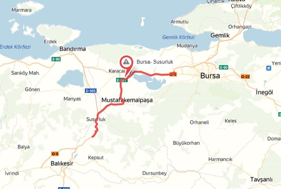 İzmir yolunda en yoğun nokta Bursa-Susurluk arası.