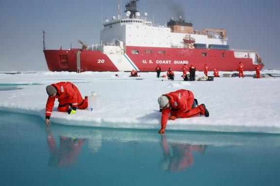 Buz kırıcı Healy ve gemide görev yapan bilim insanları.