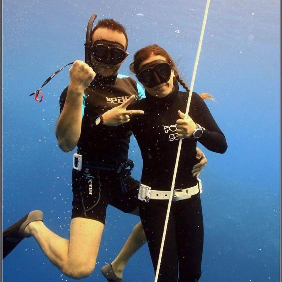 Serbest Dalış Dünya Rekortmeni Milli sporcu Derya Can Göçen ve eşi Tayfun Göçen.