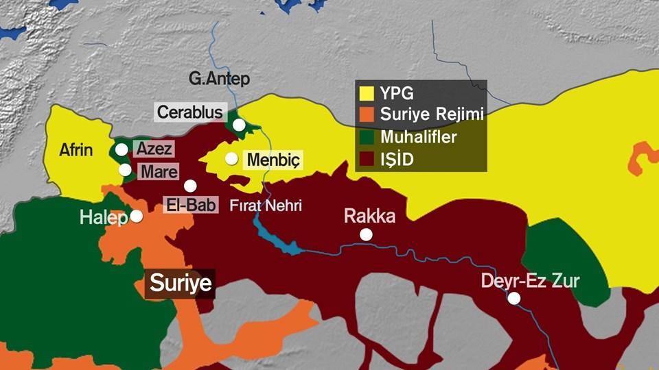 Bölgeye ilişkin haritalarda Cerablus artık muhaliflerin kontrolu altında.