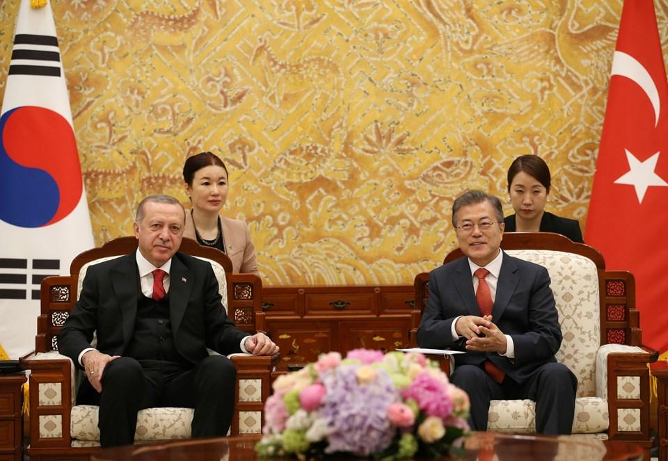 Cumhurbaşkanı Erdoğan ve Güney Kore Devlet Başkanı Moon Jae-in
