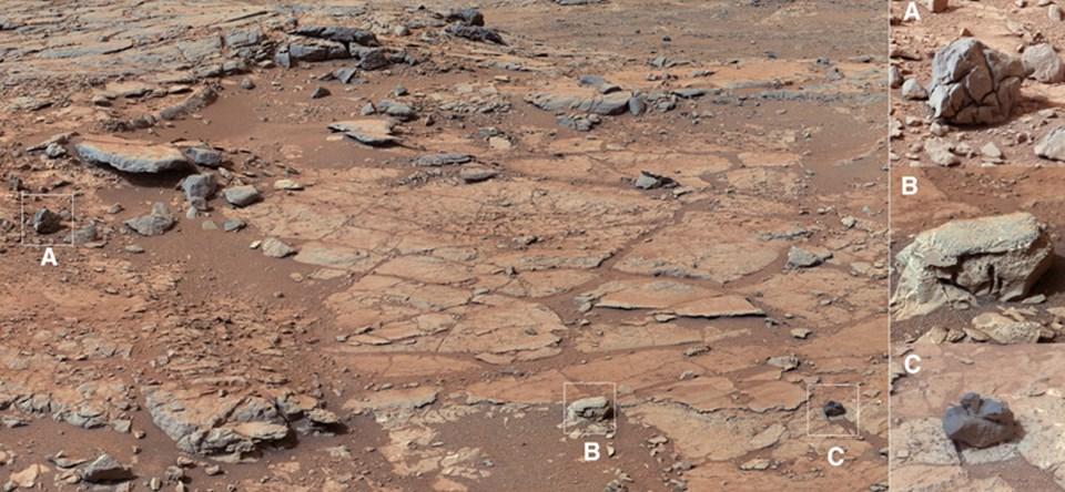 Curiosity'nin sondaj yapacağı bölgenin görünümü (Büyütmek için tıklayın).
