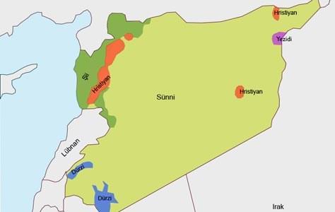 Suriye'deki dini grupların dağılımı(Grafiği büyütmek için tıklayın)