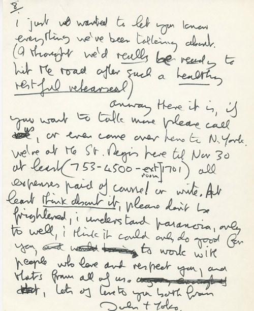 John Lennon'ın Eric Clapton'a olan hayranlığını kaleme aldığı mektup.