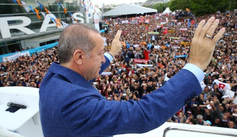 Cumhurbaşkanı Erdoğan kongre salonu önünde toplananlara seslendi.