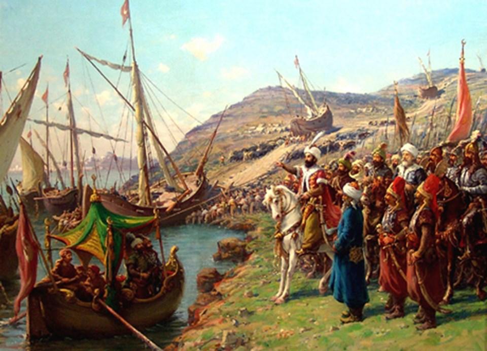 İstanbul'un alınmasında en bilinen sahnelerden biri, gemiler karadan yürütülüyor.