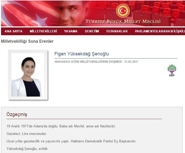 Figen Yüksekdağ'ın ismi, TBMM'nin internet sitesinde ''Milletvekilliği sona erenler'' başlığı altında yayımlandı.