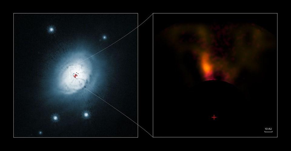 HD 100546 yıldız sisteminde görüntülenen fotoğraf (Büyütmek için tıklayın).