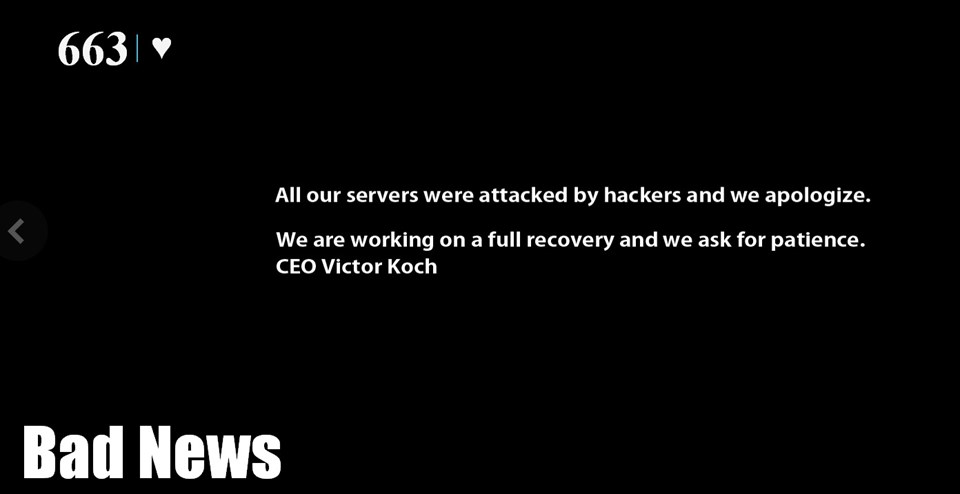 Slinky.me, sayfasından hack'lendiklerini böyle duyurdu.