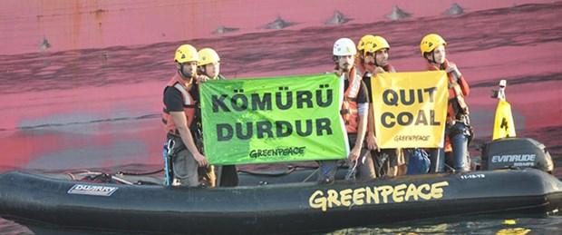 """Greenpeace'den """"kömürü durdur"""" eylemi"""