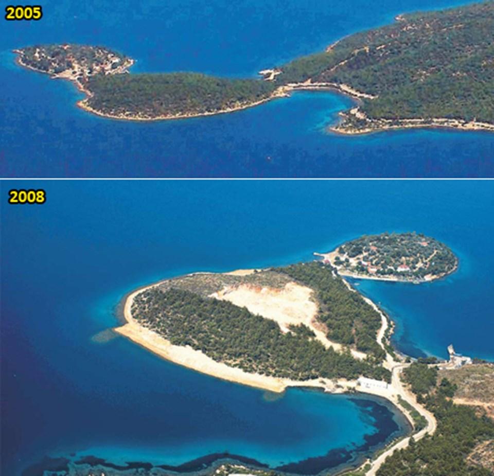 Pina Yarımadası'nda geçtiğimiz yıl yapılan izinsiz dolgu havadan böyle görüntülenmişti.
