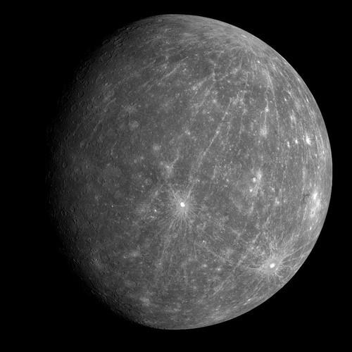 Messenger'ın 2008 yılında çektiği bir Merkür fotoğrafı.