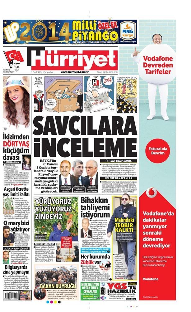 Günün gazete manşetleri - 1 Ocak 2014