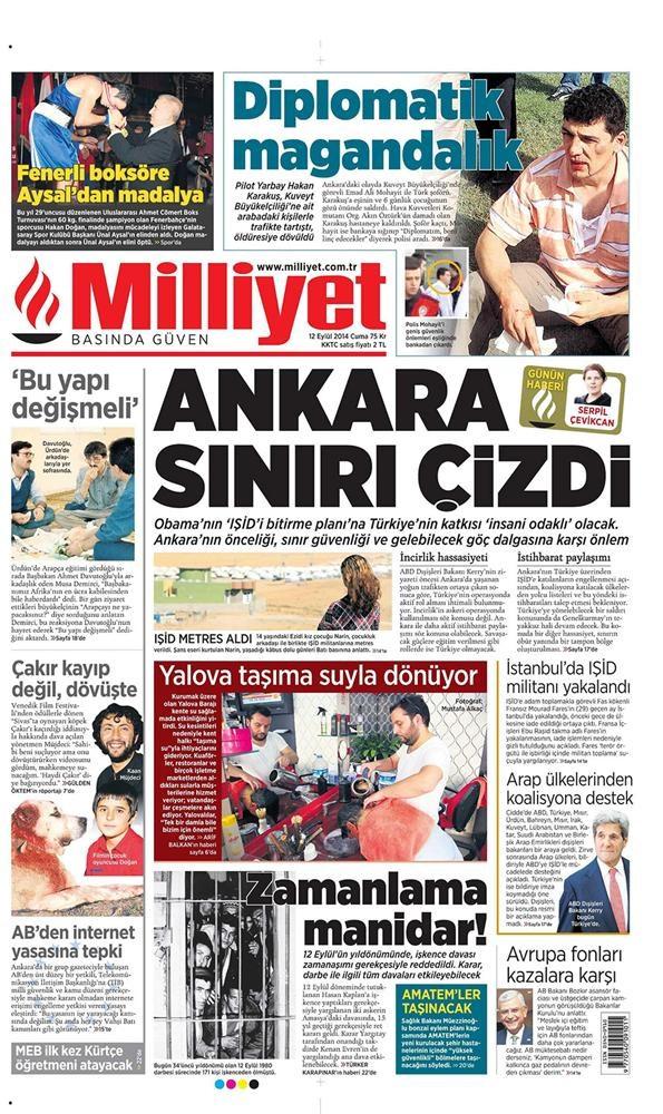 Günün gazete manşetleri - 12 Eylül 2014
