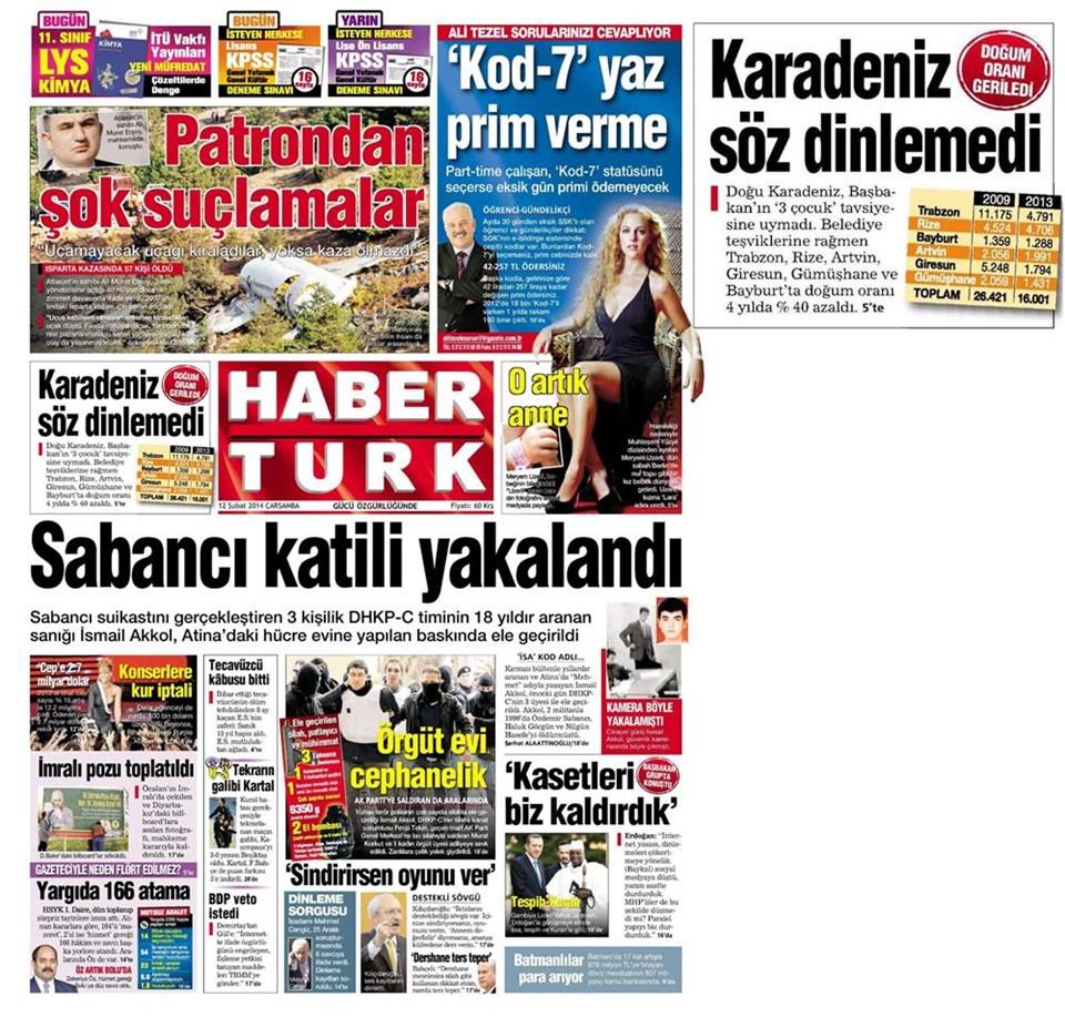 Günün gazete manşetleri - 12 Şubat 2014