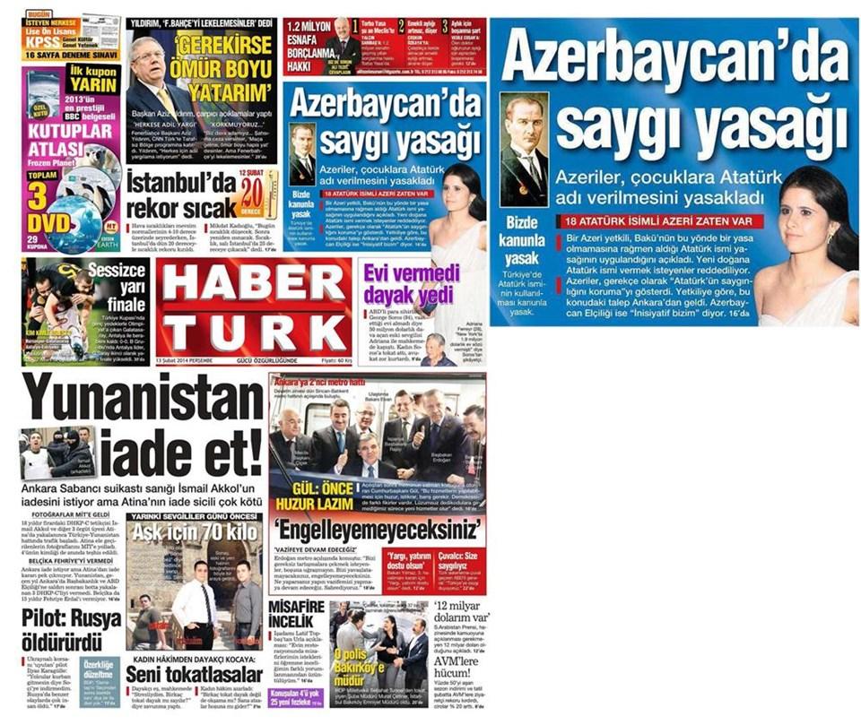 Günün gazete manşetleri - 13 Şubat 2014