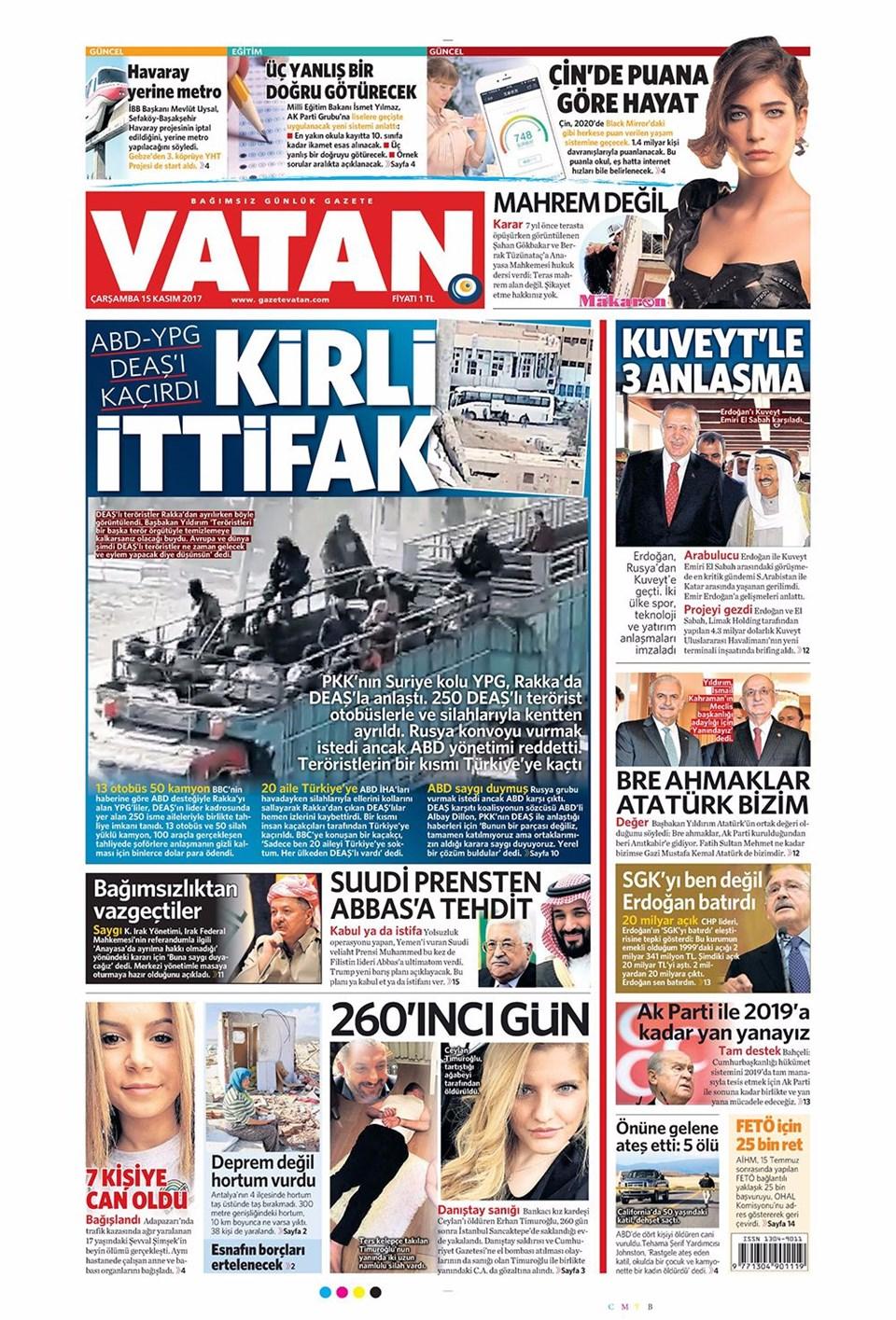Günün Gazete Manşetleri 15 Kasım 2017 1 Ntv