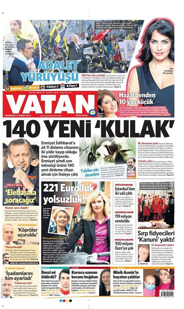 Günün gazete manşetleri - 17 Şubat 2014