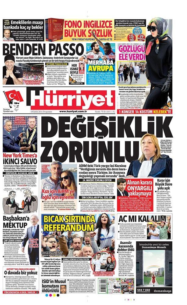Günün gazete manşetleri - 18 Eylül 2014