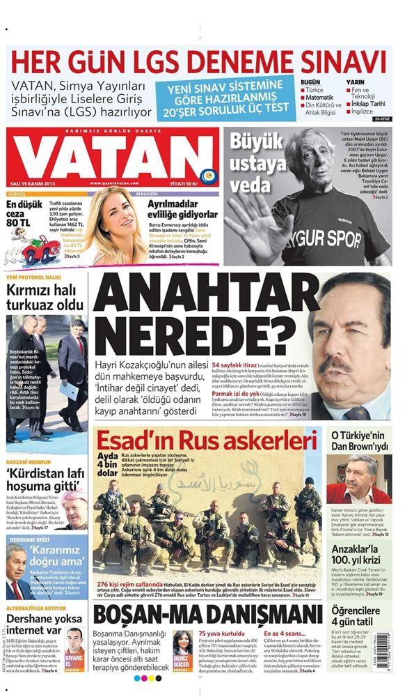 Günün gazete manşetleri - 19 Kasım 2013