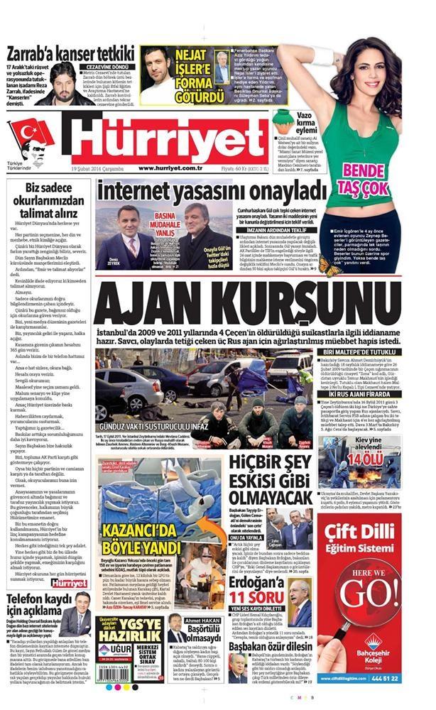 Günün gazete manşetleri - 19 Şubat 2014