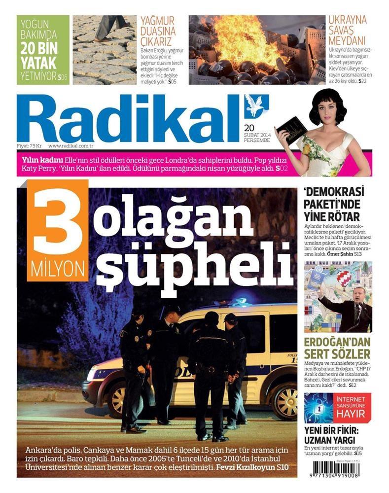 Günün gazete manşetleri - 20 Şubat 2014