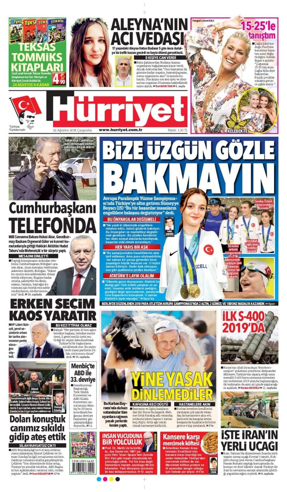 94c4e98fa25f6 Günün gazete manşetleri - 22 Ağustos 2018 - 2   NTV