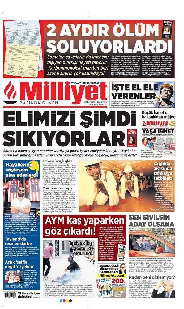 Günün gazete manşetleri - 23 Mayıs 2014