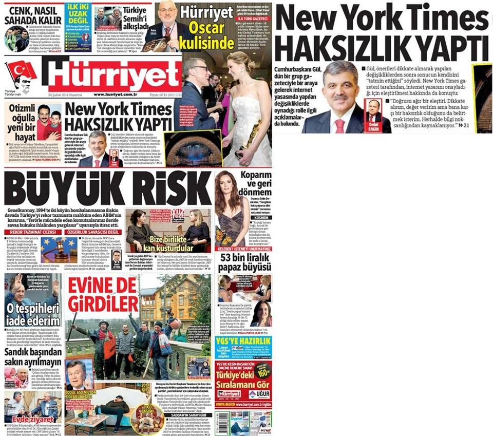 Günün gazete manşetleri - 24 Şubat 2014