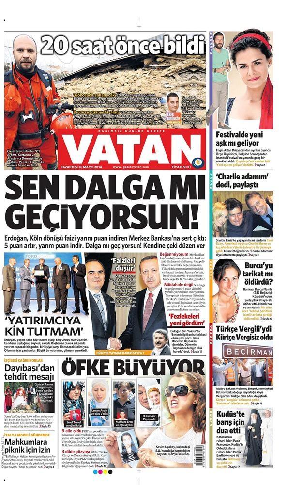 Günün gazete manşetleri - 26 Mayıs 2014