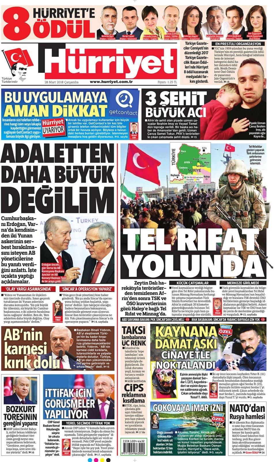 Posta Gazetesi gazete manşetleri 1 birinci sayfaları