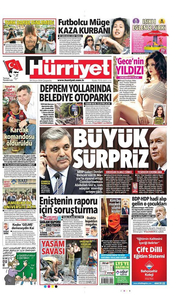 Günün gazete manşetleri - 28 Mayıs 2014