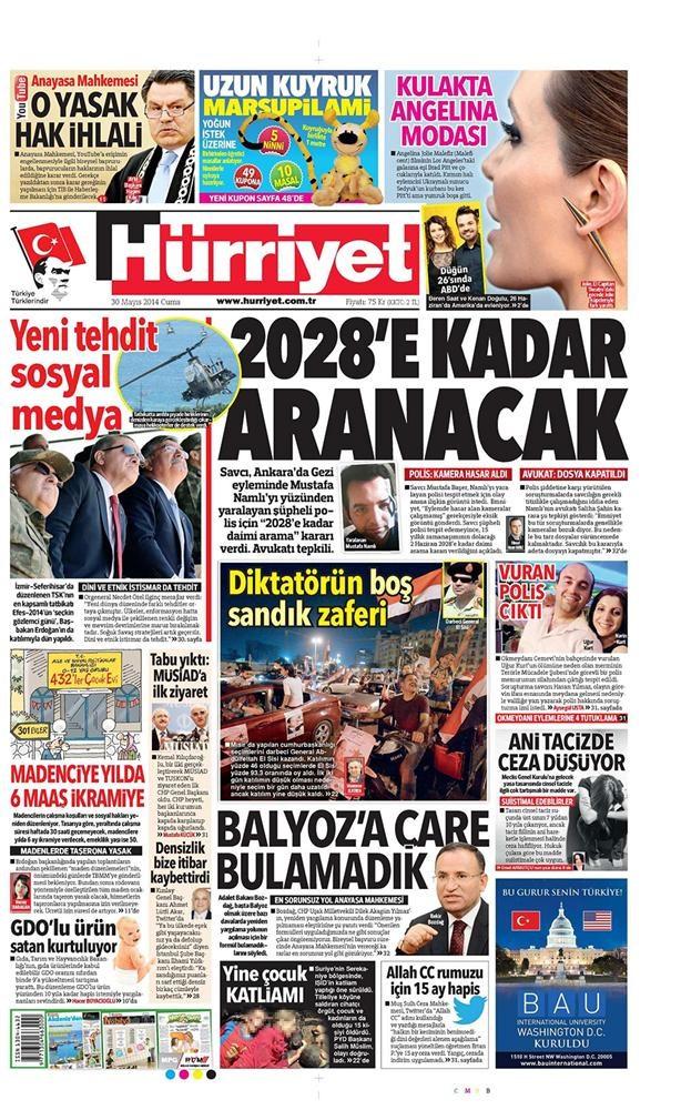 Günün gazete manşetleri - 30 Mayıs 2014