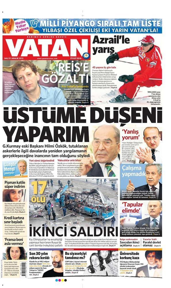 Günün gazete manşetleri - 31 Aralık 2013