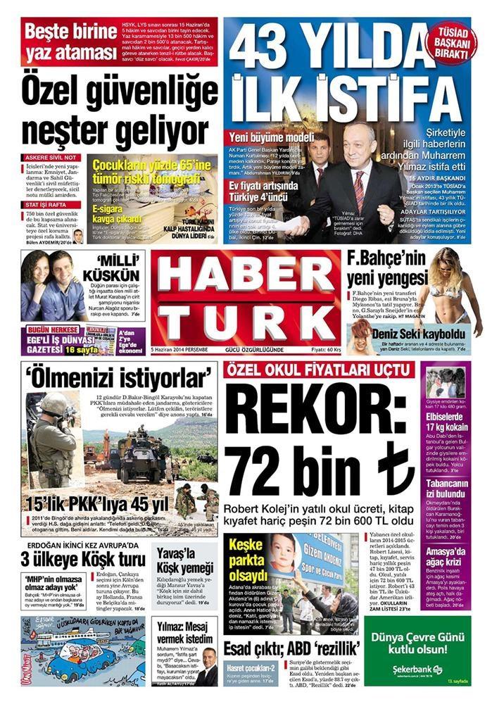 Günün gazete manşetleri - 5 Haziran 2014