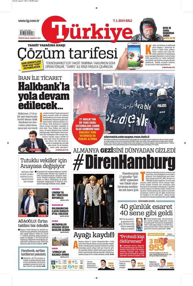 Günün gazete manşetleri - 7 Ocak 2014