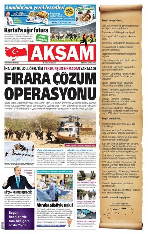 Günün Manşetler- 27 Eylül 2013