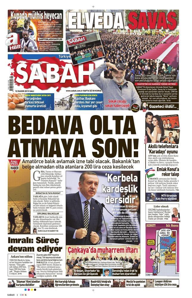 Günün manşetleri - 12 Kasım 2013