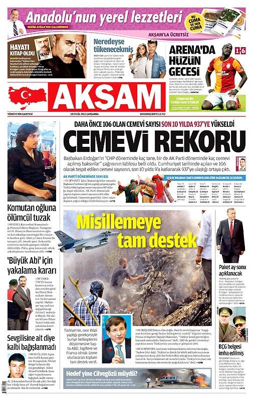 Günün manşetleri 18 Eylül 2013