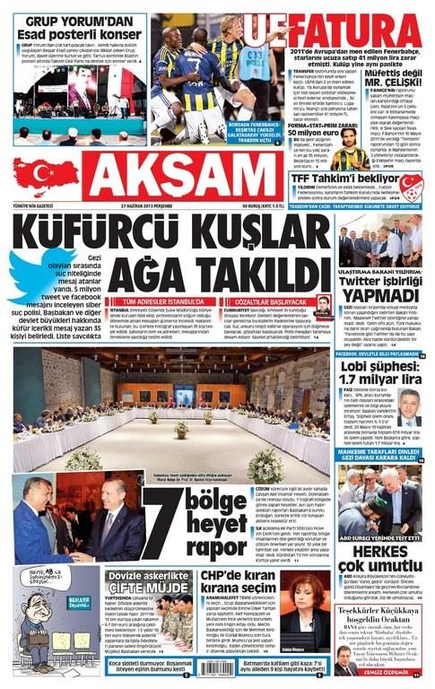 Günün manşetleri - 27 Haziran 2013