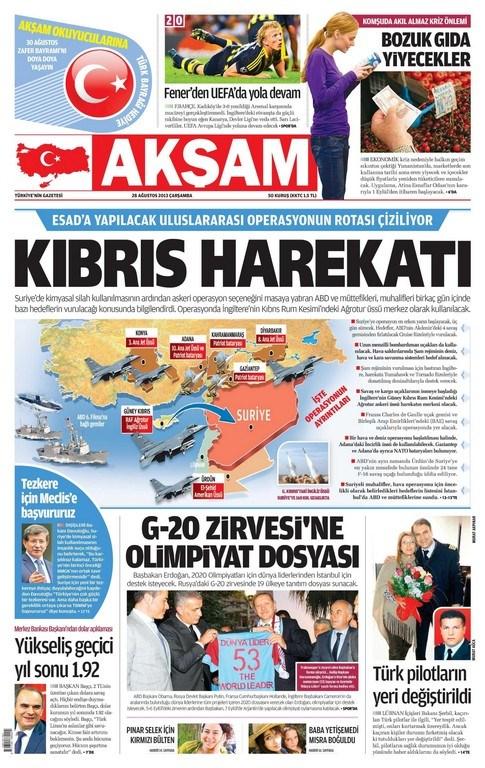Günün Manşetleri- 28 Ağustos 2013