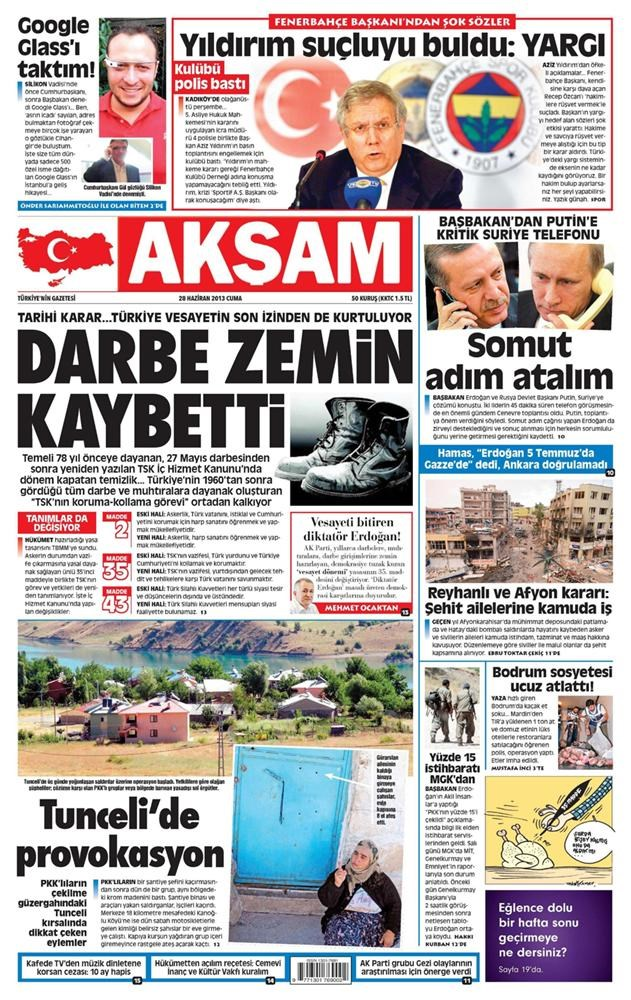 Günün manşetleri - 28 Haziran 2013