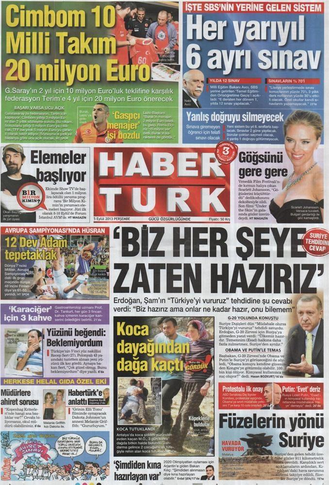 Günün manşetleri - 5 Eylül 2013
